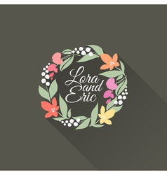 Flat floral wreath with long shadow vector