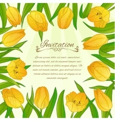 Floral card with yellow tulips on background vector image