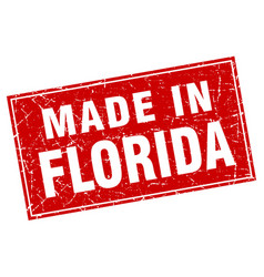 Florida red square grunge made in stamp vector