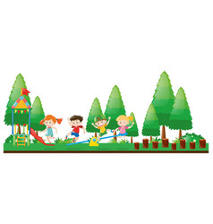 Four kids playing in playground vector