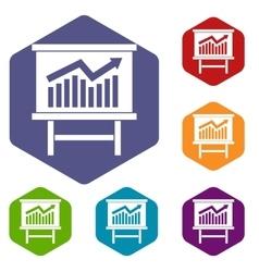 Growing chart presentation icons set vector