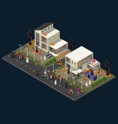 Isometric halloween holiday celebration concept vector