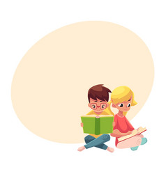 Kids boy in glasses blond girl with ponytails vector