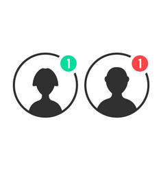 male and female user icons with notification vector image vector image