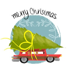 Merry christmas art of retro car with pine tree vector