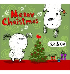 Merry Christmas greetings vector image