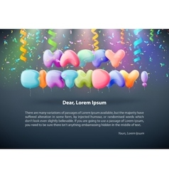 Realistic colorful birthday poster with balloons vector