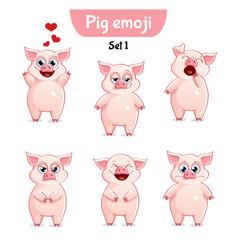 set of cute pig characters set 1 vector image