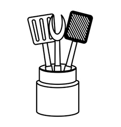 Set utensil kitchen container outline vector