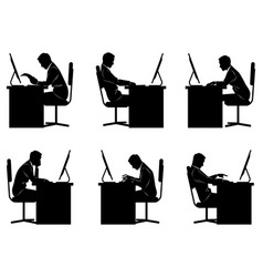 Six businessmen silhouettes vector