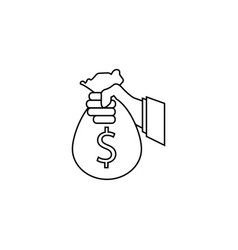 sponsor investment line icon holding money bag vector image