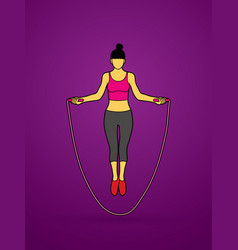 Sport woman jumping rope graphic vector