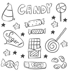 Sweet candy hand draw doodle style vector