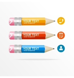Text boxes infographics icon and pencil vector