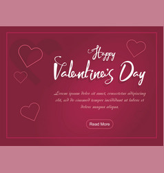 Valentines day party web banner with hearts on pin vector