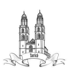 Zurich city landmark great minster label travel vector