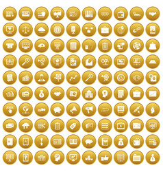 100 business process icons set gold vector