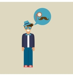 Hipster character monocle and mustache vintage vector