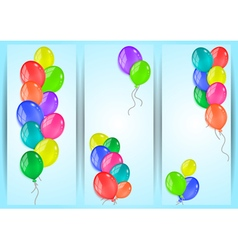 Banners with colorful balloons vector