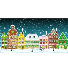 City on christmas night vector