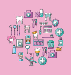 icon set dentist profession vector image
