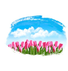 Spring background with pink tulips vector image