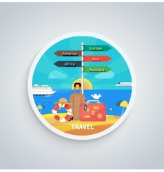 Traveling and planning vacation on round banner vector