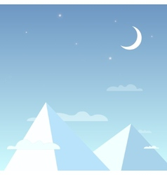 Mountains in the night sky in a simple light vector