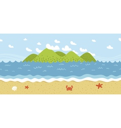 Beach coast landscape seamless pattern vector