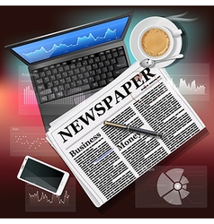 Newspaper with laptop and mobile phone with coffee vector