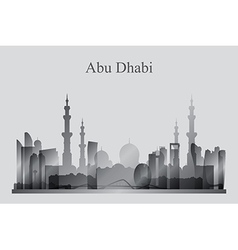 Abu dhabi city skyline silhouette in grayscale vector