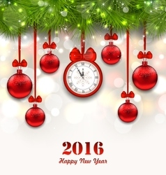 New year magic background with clock fir twigs vector