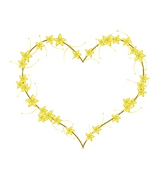 Yellow bush willow flowers in a heart shape vector