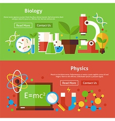 Biology and physics science flat website banners vector