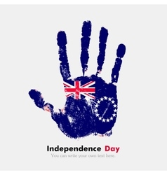 Handprint with the flag of cook islands in grunge vector