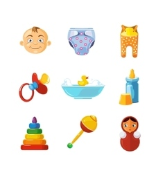 Pistures of toys icons set isolate on white vector