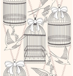 birdcage flowers and birds vector image vector image