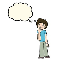 Cartoon boy wondering with thought bubble vector