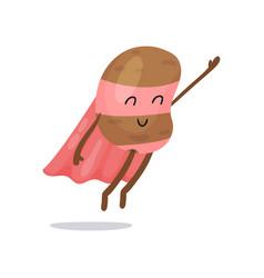 Cartoon potato superhero flat character with pink vector