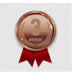 Champion art bronze medal with red ribbon icon vector