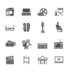 Cinema retro black icons set vector image vector image