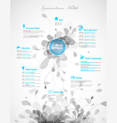 creative turquoise color cv resume template vector image vector image