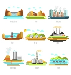Electricity generation plants and sources vector
