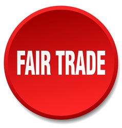 Fair trade red round flat isolated push button vector