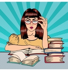 Female student reading books in library pop art vector
