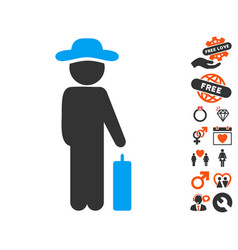 Gentleman baggage icon with lovely bonus vector