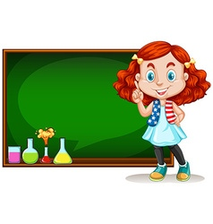 Girl standing by the blackboard vector