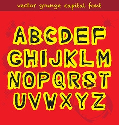 Grunge capital font vector image