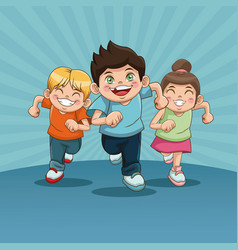 happy children day group of happy running kids vector image