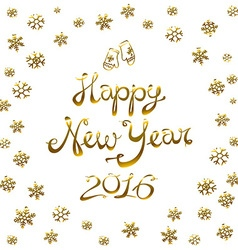 Happy New Year Card 2016 gold snowflake vector image
